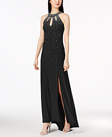 Nightway Embellished Open-Back Halter Gown