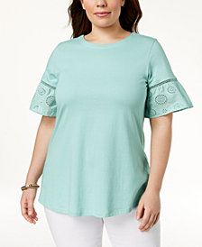 Charter Club Plus Size Eyelet-Trim Top, Created for Macy's