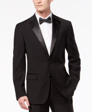 1950s Men's Clothing Calvin Klein Mens X-Fit Infinite Stretch Black Tuxedo Jacket $450.00 AT vintagedancer.com