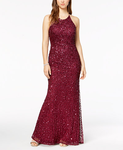 Adrianna Papell Sequined Train Gown