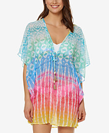 Bleu by Rod Beattie Printed Tie-Front Cover-Up Dress