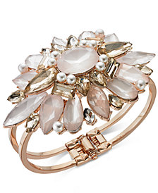 I.N.C. Rose Gold-Tone Crystal & Imitation Pearl Cuff Bracelet, Created for Macy's