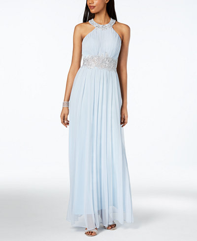 Betsy & Adam Sequined Embroidered Halter Gown