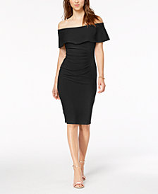 XSCAPE Off-The-Shoulder Sheath Petite Dress