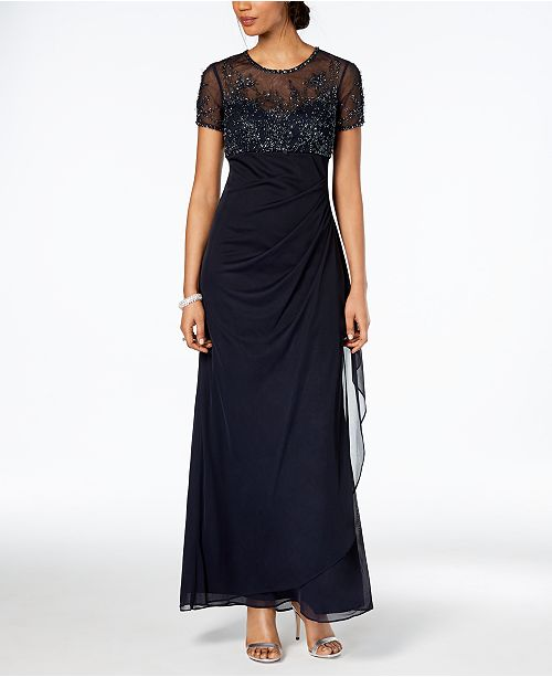 XSCAPE Petite Beaded Illusion Gown