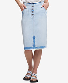 DKNY Denim Button-Fly Skirt