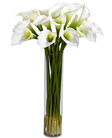Nearly Natural Calla Lily Flower Arrangement with Cylinder Vase