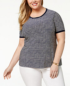 Anne Klein Plus Size Button-Back Top