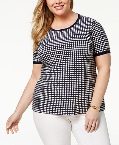 Anne Klein Plus Size Button-Back Top