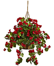 Nearly Natural Geranium UV-Resistant Indoor/Outdoor Hanging Basket