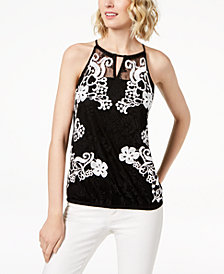 I.N.C. Petite Lace Halter Top, Created for Macy's
