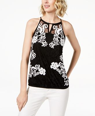 Inc International Concepts I N C Petite Lace Halter Top Created