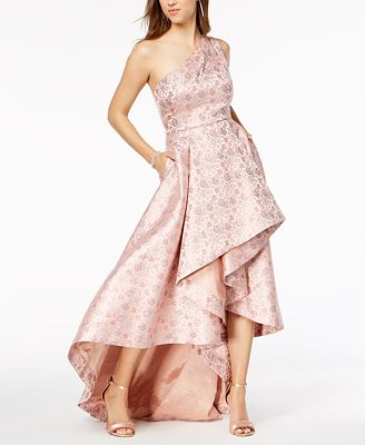 Adrianna Papell Metallic Jacquard One Shoulder Gown Dresses
