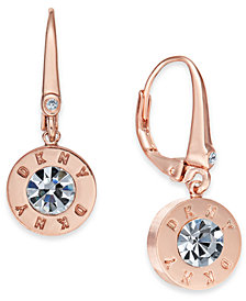 DKNY Crystal Logo Drop Earrings, Created for Macy's