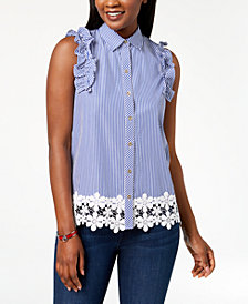 Tommy Hilfiger Cotton Striped Lace-Trim Top, Created for Macy's