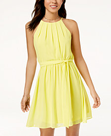 BCX Juniors' Pintucked Chiffon A-Line Dress