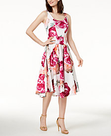 Calvin Klein Cotton Floral-Print Fit & Flare Dress