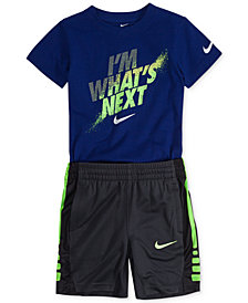 Nike Graphic-Print Cotton T-Shirt & Elite Stripe Dri-FIT Shorts, Little Boys