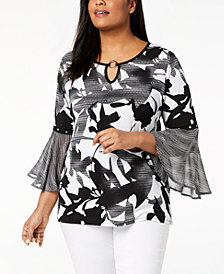 JM Collection Plus Size Embellished Keyhole Tunic, Created for Macy's