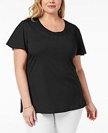 Karen Scott Plus Size Basketweave-Trim T-Shirt, Created for Macy's
