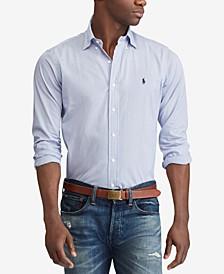 Men's Slim Fit Hairline Stripe Poplin Shirt