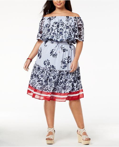 cf868ad090 Tommy Hilfiger. Plus Size Printed Off-The-Shoulder Dress