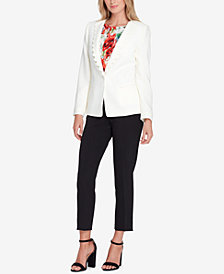Tahari ASL Scalloped One-Button Blazer