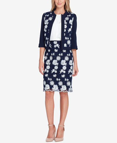 Tahari ASL Embroidered Open-Front Jacket & Embroidered Mesh Skirt