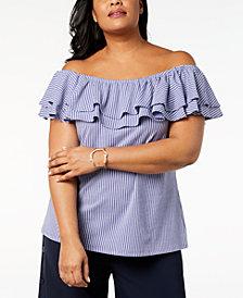 Love Scarlett Plus Size Striped Ruffled Top
