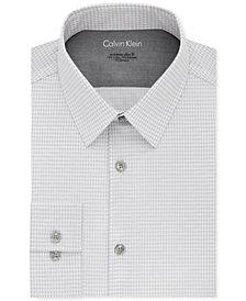 Calvin Klein X Men's Extra-Slim Fit Thermal Stretch Performance Gray Print Dress Shirt