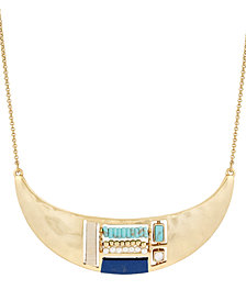 "Lucky Brand Gold-Tone Beaded Crescent Collar Necklace, 18"" + 2"" extender"