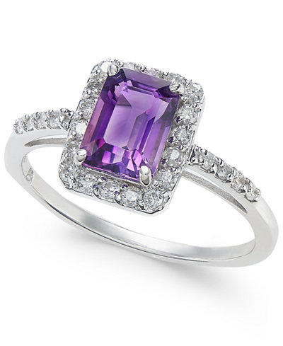 Amethyst (1 ct. t.w.) & Diamond (1/4 ct. t.w.) Ring in 14k White Gold