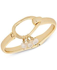 Lucky Brand Gold-Tone Imitation Pearl Dangle Bangle Bracelet