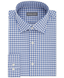 Michael Kors Men's Classic/Regular Fit Non-Iron Airsoft Stretch Performance Blue Check Dress Shirt