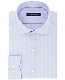 Tommy Hilfiger Men's Classic/Regular Fit Non-Iron Stretch Blue & Red Check Dress Shirt