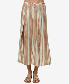 O'Neill Onyx Smocked Striped Midi Skirt