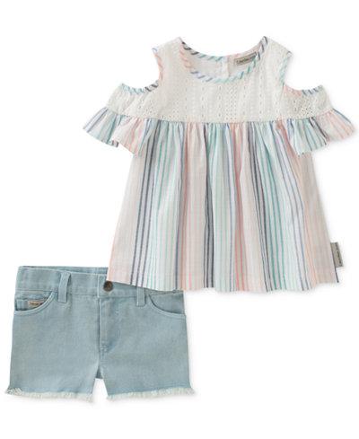 Calvin Klein 2-Pc. Cold-Shoulder Top & Denim Shorts Set, Baby Girls