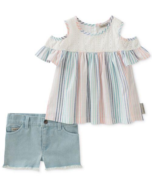 2-Pc. Cold-Shoulder Top & Denim Shorts Set, Baby Girls