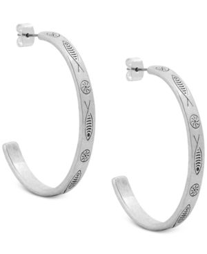 SILVER-TONE FISH-ETCHED OPEN HOOP EARRINGS