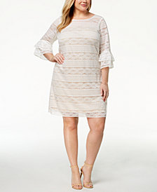 Jessica Howard Plus Size Lace Tiered-Sleeve Dress