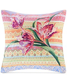 "Sofia 18"" x 18"" Embroidered Cotton Square Decorative Pillow"