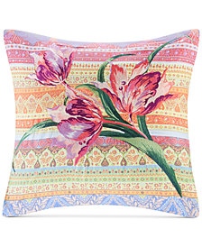 "Echo Sofia 18"" x 18"" Embroidered Cotton Square Decorative Pillow"