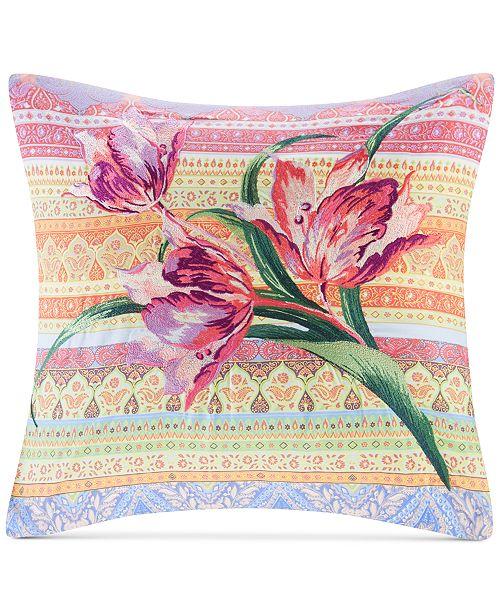 """Echo Sofia 18"""" x 18"""" Embroidered Cotton Square Decorative Pillow"""