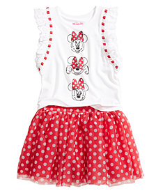 Disney 2-Pc. Minnie Mouse T-Shirt & Skirt Set, Little Girls