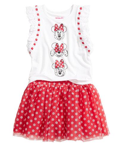 Disney 2-Pc. Minnie Mouse T-Shirt & Skirt Set, Little Girls