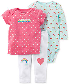 Carter's 3-Pc. Cotton Rainbow T-Shirt, Bodysuit & Pants Set, Baby Girls