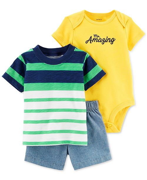 Carter s Baby Boys 3-Pc. Printed Cotton Bodysuit 58677c91e