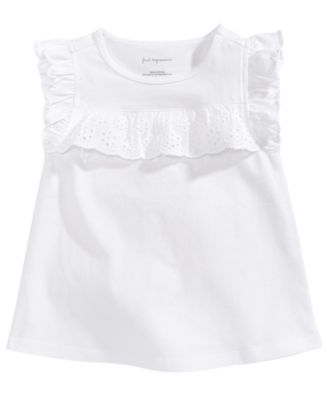 Eyelet-Ruffle Cotton T-Shirt, Baby Girls, Created for Macy's