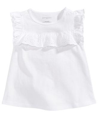 Eyelet-Ruffle Cotton T-Shirt, Baby Girls, Created for Macy's