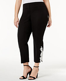 Alfani Plus Size Lace-Hem Pants, Created for Macy's